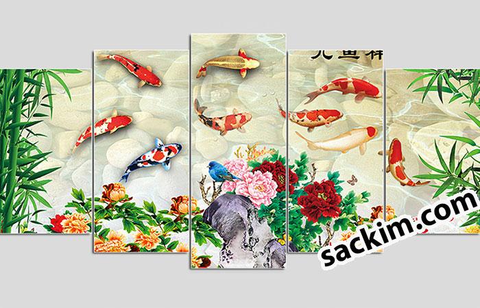 tranh treo tường hình cá chép phong thủy phòng khách