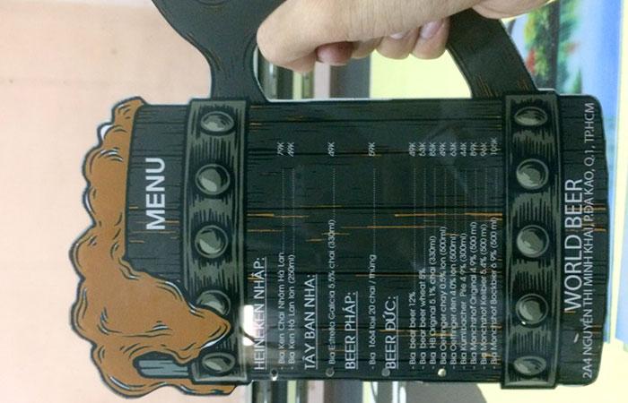 Mẫu in menu hình ly bia tại in ấn Sắc Kim