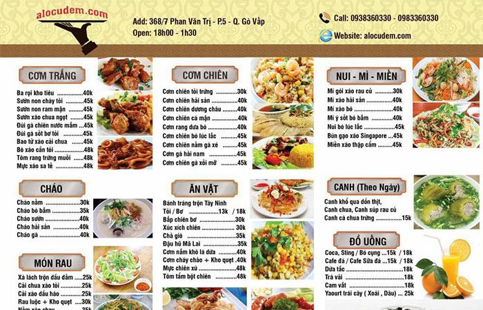 menu món ăn nhà hàng