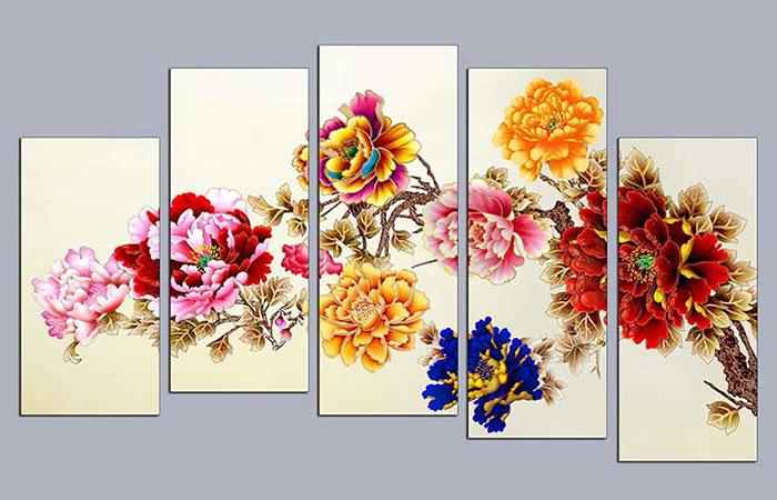 Tranh hoa mẫu đơn 3D
