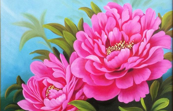 Tranh hoa mẫu đơn 2 bông