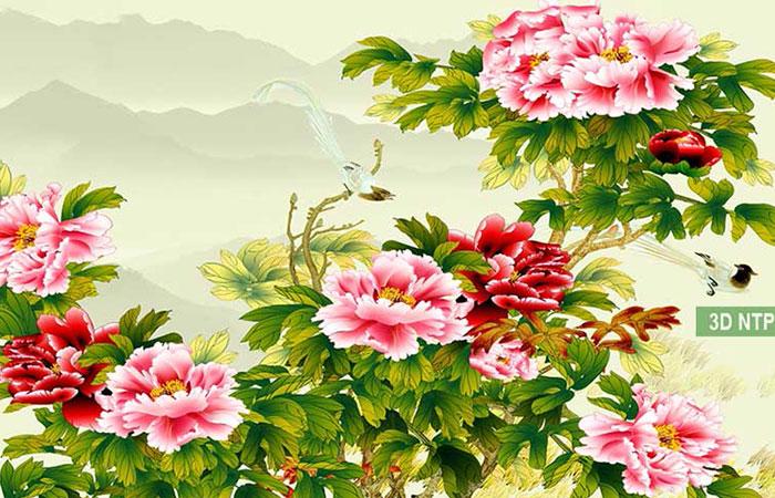 Gia tranh hoa mẫu đơn 9 bông
