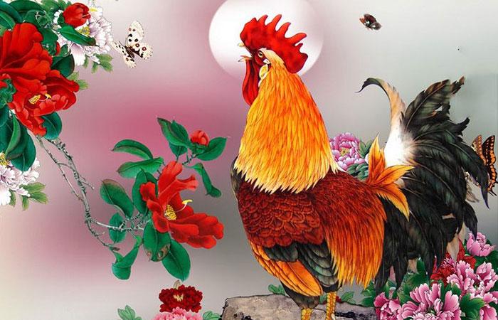 Tranh hoa mẫu đơn gà trống đại diện cho sự keo sơn giữa những người anh em