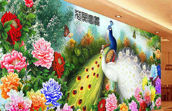 Tranh vẽ hoa mẫu đơn Trung Quốc