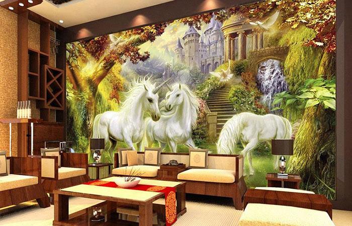 Tranh dán tường sẽ mang lại không gian đẹp, hiệu ứng thẩm mỹ cao