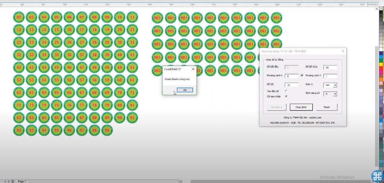 Kết quả sau khi chạy tool Macro nhân bản đối tượng