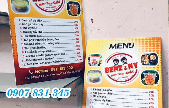In formex menu giá rẻ