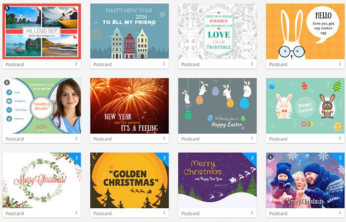 Các loại postcard sử dụng cho chương trình quảng cáo