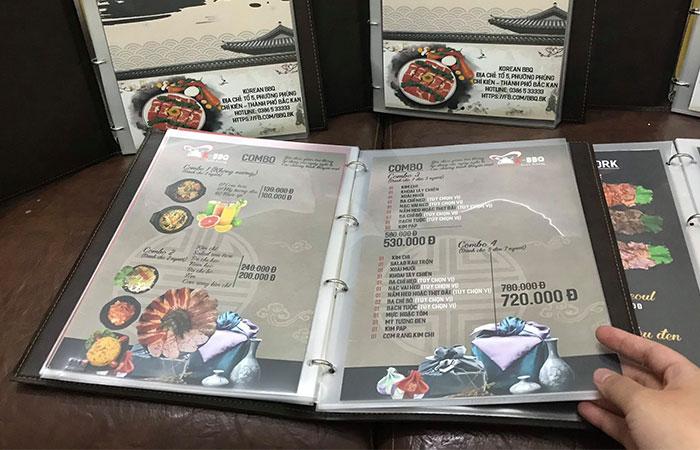 In menu thực đơn cho nhà hàng